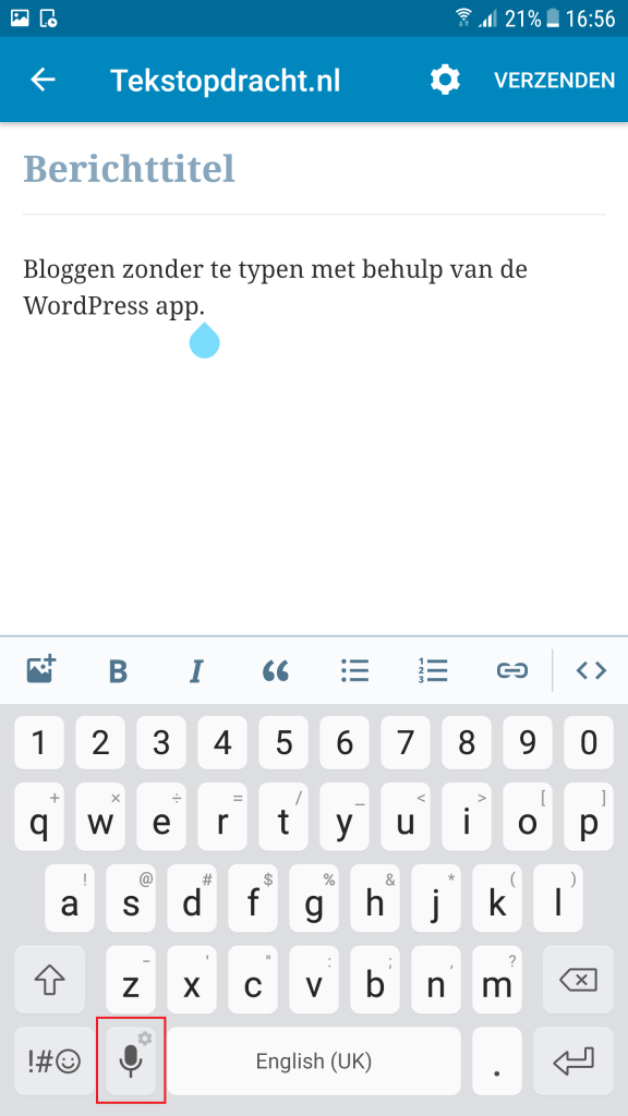 dicteren met wordpress app